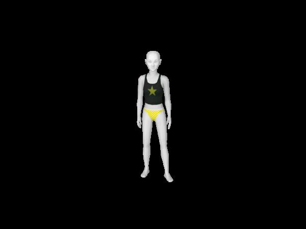 Avatar Yellow and White Polka Dot Bikini Bottom