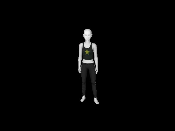 Avatar Sporty spice costume: black tri-striped leggings