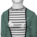 Avatar Wornout teal cardigan with striped under tee