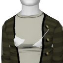 Avatar Army green striped button up cardigan